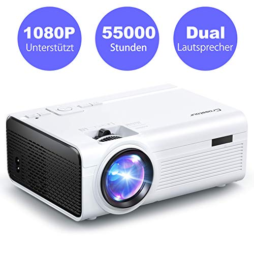 Mini Video Beamer Crosstour Full HD Unterstützt Heimkino Projector LED Handy Tragbar Projektor Kompatibel mit Chromecast/iPhone/Android/TV Box/Tablette