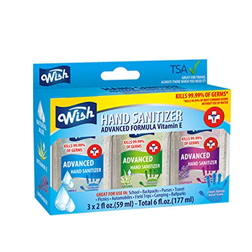 Wish Hand Sanitizer 2oz 3PK Box Set Pocket Size Assorted Scents