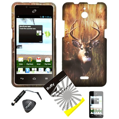 4 items Combo: ITUFFY (TM) LCD Screen Protector Film + Mini Stylus Pen + Case Opener + Outdoor Wild Deer Grass Camouflage Design Rubberized Snap on Hard Shell Cover Faceplate Skin Phone Case for Huawei VALIANT Y301 / Straight Talk Huawei Ascend Plus H881C