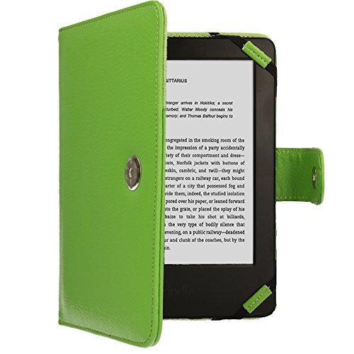 TECHGEAR Verde Kindle Funda de Cuero PU con Cierre magnético Carcasa para Amazon Kindle eReader y Kindle Paperwhite con Pantalla de 6 Pulgadas [Estilo de Libro] con Protector de Pantalla Incluido