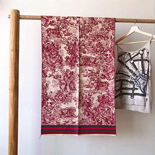 Sportinggoods Winter nieuwe imitatie kasjmier sjaal dubbelzijdig warme plaid inkt schilderij jacquard sjaal dikke sjaal rood