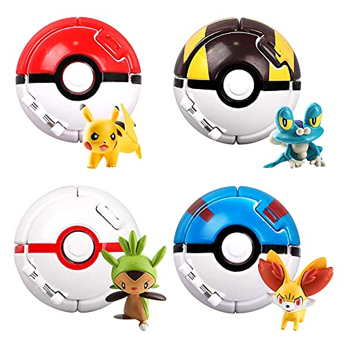 Sfera Pokemon, NALCY 4 Pcs Pokemon Poke Ball, Pokemon Action Figure Poke Ball a Apertura Automatica Throw N Pop Poké Ball, per Bambini e Adulti Festa Celebrazione Divertente