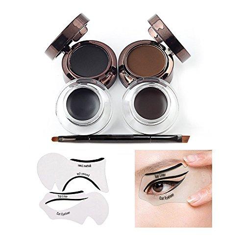 VONISA Waterproof delineador de cejas en Gel Eyeliner Brocha Para Maquillaje Y Plantillas Para Maquillaje Negro y Marrón Pretty Eye Efecto Smudge Negro Brillo Ojo Crema Cosméticos