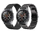 TurnTurn 22mm Correa para Galaxy Watch 3 45mm/Galaxy Watch 46mm/Huawei Watch GT2 46mm Correa Acero Inoxidable Correa de Metálica Banda de Reloj de Malla para Garmin Vivoactive 4/Active (Negro+Negro)