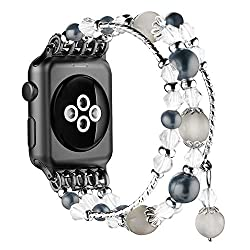 Black Handmade Beaded Bracelet Replacement for Apple Watch
