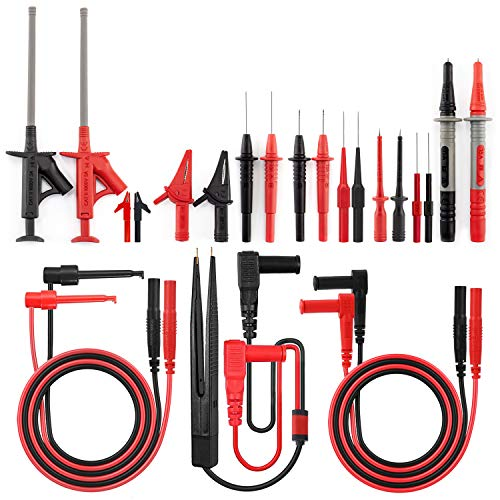 KAIWEETS Messleitungen Prüfkabel Kits 23-Teilige Elektronische Kabel mit Krokodilklemmen, Pinzette, Haken, Isolierte Piercing-Nadel, Austauschbares Testsonden-Kit für digitales Multimeter