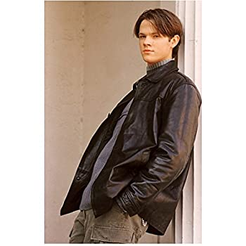 Gilmore Girls 8 inch x 10 inch Photograpg Jared Padalecki/Dean Forester VERY Young! Black Leather Jacket Over Blue Sweater Pose 5 kn