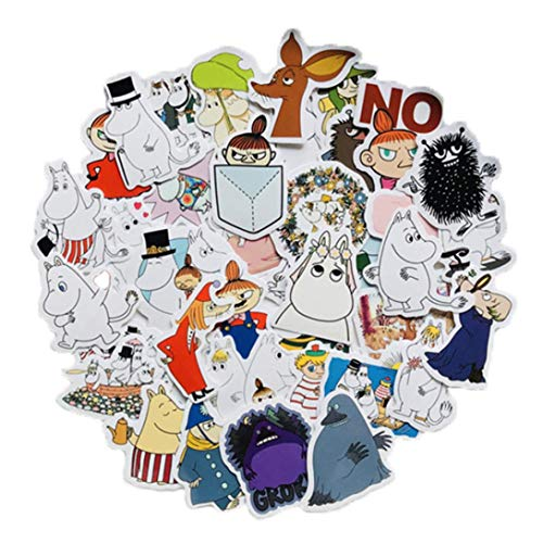 YueShi Ingenious 40 Stück/Set niedliche Mumin Valley Scrapbooking Sticker Aufkleber Aufkleber Tagebuch Skateboard Doodle Graffiti Sticker DIY PVC Wandaufkleber 9191