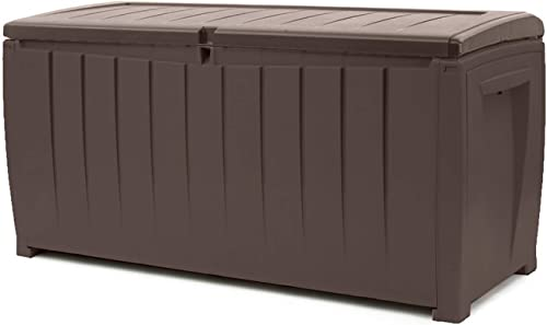 Keter Novel 90 Gallon Resin Deck Box-Organization and Storage for Patio Furniture Outdoor Cushions, Throw Pillows, Ga...