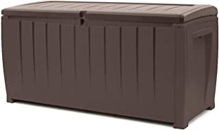 Keter Novel 90 Gallon Resin Outdoor Storage Box for Patio Furniture Cushions, Brown/Brown