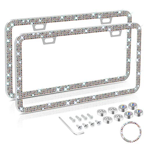 Delixike Multicolor License Plate Frames for Women, Luxury Handmade Thin Border Stainless Steel Rhinestone Bling License Plate Frame for Front Back License