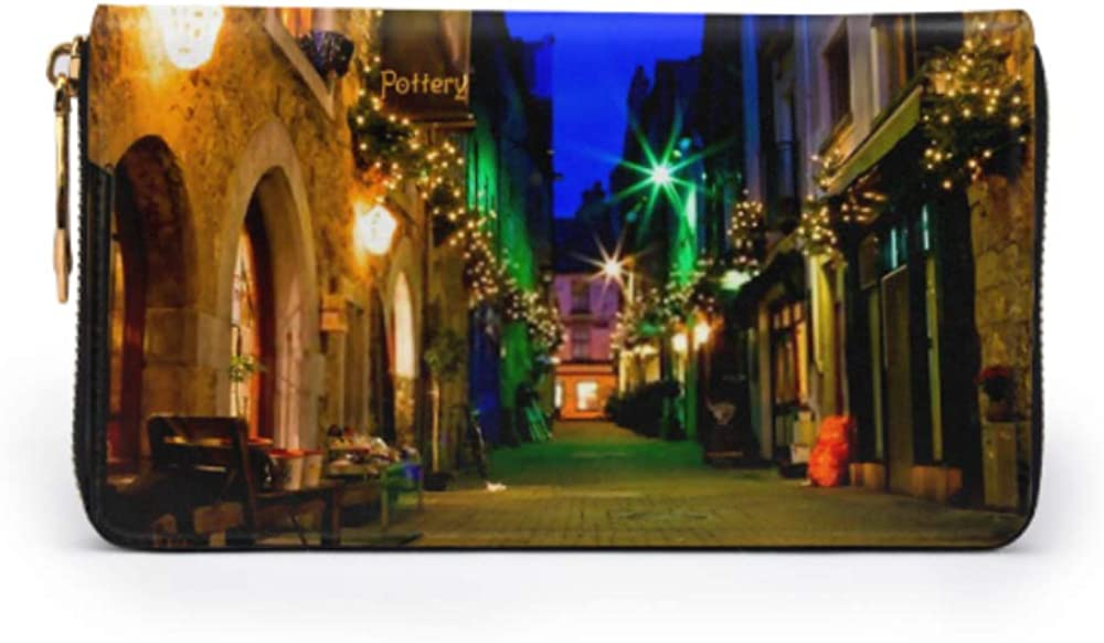 Fashion Handbag Zipper Wallet Old Galway City Streetkerwans Lanedecorated Christmas Phone Clutch Purse Evening Clutch Blocking Leather Wallet Multi