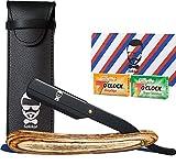 Rasoir Coupe choux Bois SAKKAL 20 demi-lames Sac de voyage CUIR Kit Barbe Cadeau Anniversaires chou soins hommes kit barbier visage saint valentin
