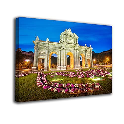 Desconocido Cuadro Lienzo Canvas Puerta de Alcalá Noche iluminada Madrid – Varias Medidas - Lienzo de Tela Bastidor Madera de 3 cm - Impresion Alta resolucion (50, 33)