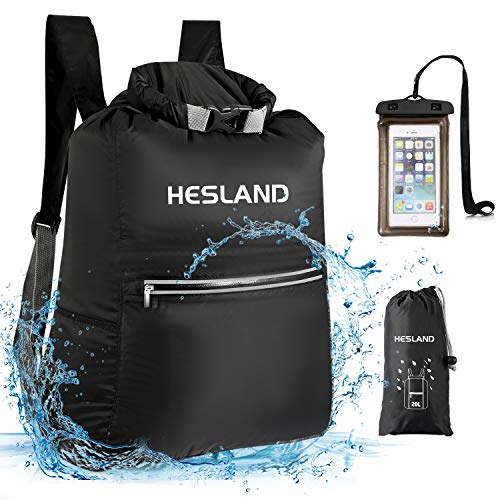 HESLAND Waterproof Dry Bag Backpack 20L Floating Roll Top Dry Compression Sack with Free Inflatable Waterproof Phone Case for Beach, Kayaking, Camping, Boating, Swimming, Fishing and Hiking