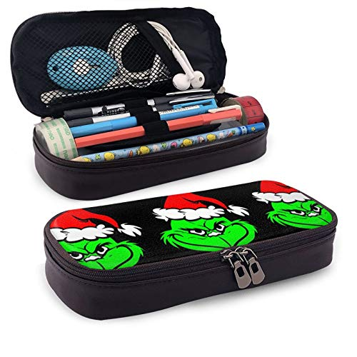 Grinchy Grinch Makeup Pen Pouch Kids Pencil Bag -Lightweight Students Stationery with Double Zipper Pen Holder for School/Office