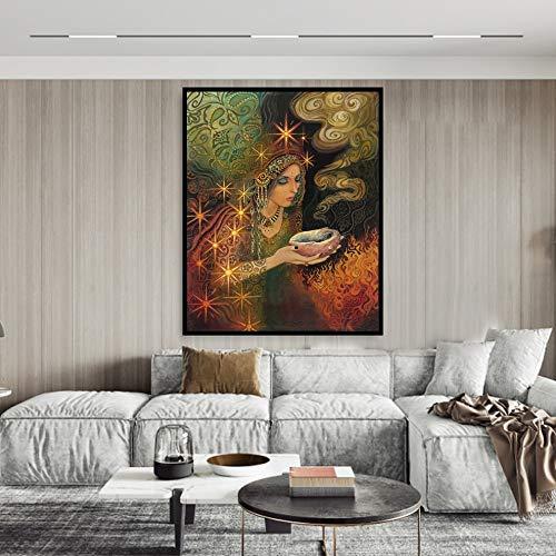 Geiqianjiumai Diosa Sabia Imprimir Mito pagano psicodélico Bruja Gitana Bohemia impresión de Arte y póster Lienzo Cuadro sin Marco Pintura 30x40cm