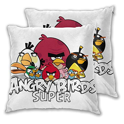 Obbligato Throw Pillow Covers an-Gry Birds Modern Square Pillowcases Cushion Cases for Sofa Couch Bedroom Chair 16'x16'