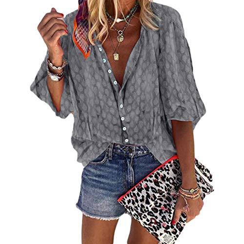 Camisa de Solapa para Mujer Otoo Botn de un Solo Pecho Impresin de Moda Suelta Casual Cmoda Chaqueta de Punto Superior XL