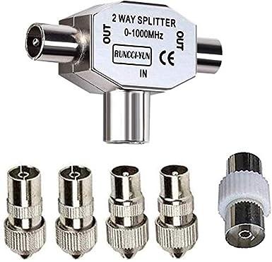 RUNCCI-YUN Kit Distribuidor de Antena bidireccional - T Splitter de 0 a 1000 MHz para DVB-T/BK - Acoplamiento con 2 Conectores coaxiales+ 5pcs ...