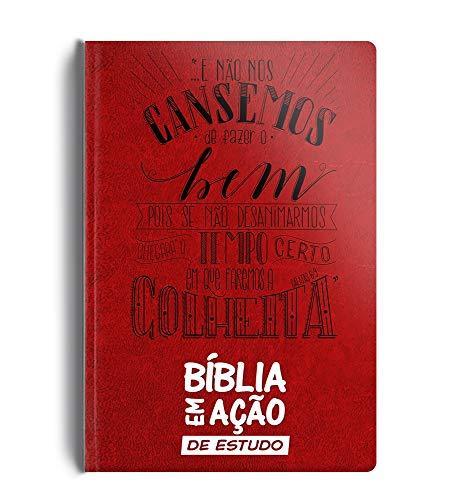 Bíblia em ação de estudo - Versão mensagem - Luxo vermelha