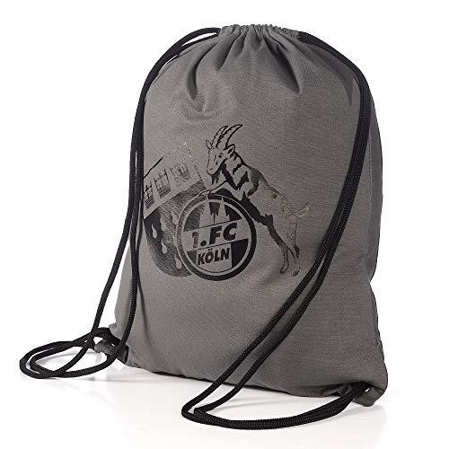 1. FC Köln Sportbeutel Logo, Turnbeutel anthrazit, Gym Bag, Rucksack, Sports Bag - Plus Lesezeichen I Love Köln