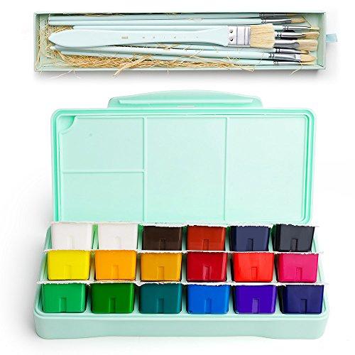 MIYA Kit di Pittura di Guazzo, 18 Colori x 30ml Set di Pittura 10 Pezzi di Pennelli, Design Unico di Tazza di Gelatina con Custodia Guaina Portatile