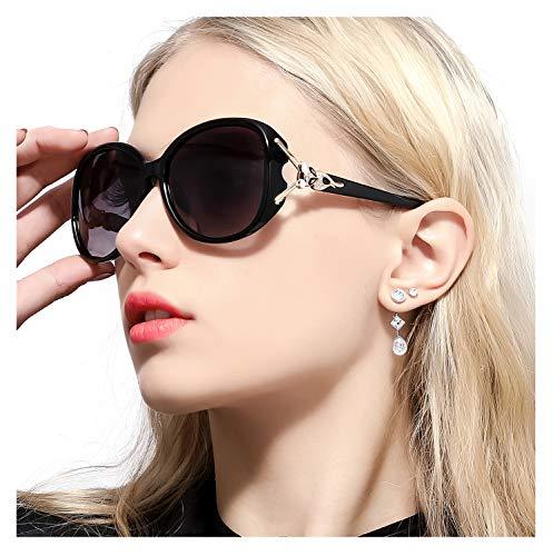 FIMILU Gafas de Sol Gran Tamaño Mujeres– Aptos para Conducir – Montura Envolvente Cómoda con Protección UV400 (Negro,gris)