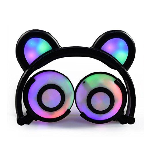 OUTOS Bärenkopfhörer, wiederaufladbare Niedliche Bären-Ohr-Kopfhörer mit LED- blinkenden glühenden Lichter Faltbar über Ohr-Cos-Spiel Fantastische Kopfhörer für PC,iPhone,Androides Telefon (Schwarz)