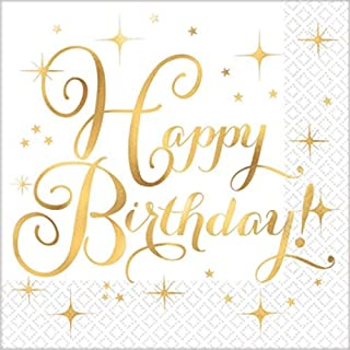 Luncheon Napkins, Hot-Stamped | Gold Collection | Birthday | 192 Ct.