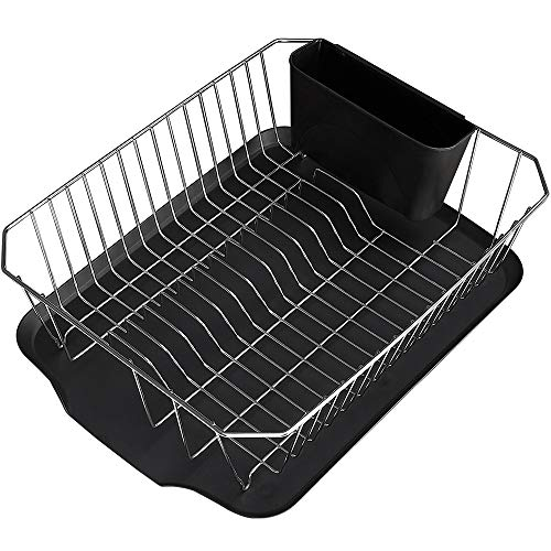 Stainless Steel Rust Proof Kitchen Dish Drying Rack, Draining Dish Rack With Black Drainboard, A Wide Utensil Holder