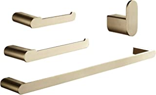 ELLO&ALLO Bathroom Hardware Set, Towel Bar Holder 4-Piece Bathroom Accessory Set - Brushed Gold