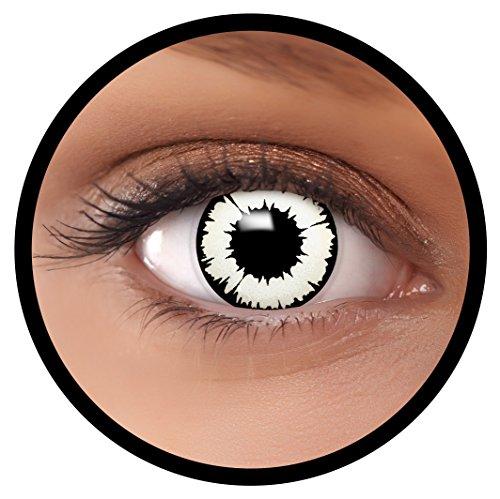 Farbige Kontaktlinsen weiß New Vampir + Behälter, weich, ohne Stärke in weiß und schwarz als 2er Pack (1 Paar)- angenehm zu tragen und perfekt für Halloween, Karneval, Fasching oder Fastnacht Kostüm