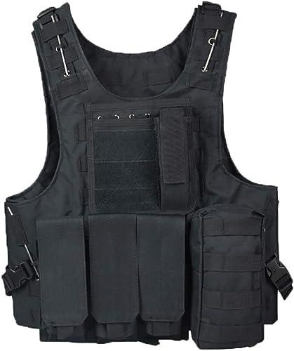 XXIAZHI,Gilet camouflage Gilet multifonctionnel Gilet tactique noir