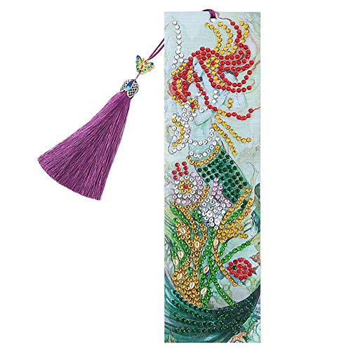 Bookmark for Men, DIY Beauty Special Shaped Diamond Painting Leather Tassel Bookmark Gifts, for Valentine's Day, Graduation, Birthday