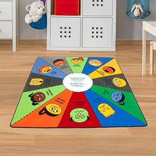 Kinder Lernteppich Gefühle & Englisch Größe 200 cm, Quadrat