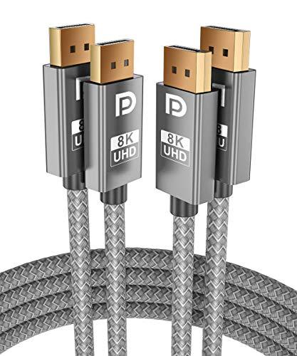 8K 60Hz DisplayPort Kabel 2M 2-Stück,DP 1.4 Stecker Ultra High Speed Cable für Laptop/PC/TV/Gaming Monitor,Unterstützung 32.4Gbps HBR3 Bandbreite,4K@144Hz,2K@165Hz,1080P@240Hz(DP 1.2 Kompatible)