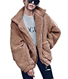 PRETTYGARDEN Women's Fashion Long Sleeve Lapel Zip Up Faux Shearling Shaggy Oversized Coat Jacket With Pockets Warm Winter (Khaki, Medium)