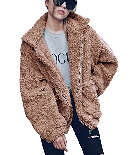 PRETTYGARDEN Women's Fashion Long Sleeve Lapel Zip Up Faux Shearling Shaggy Oversized Coat Jacket with Pockets Warm Winter (Khaki, Small)