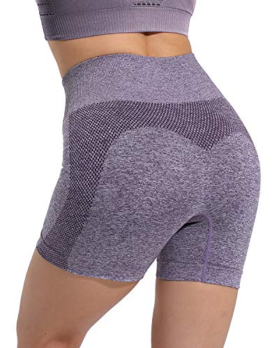 High Waisted Seamless Workout Shorts for Women, Gym Exercise Compression Yoga Short Purple XL