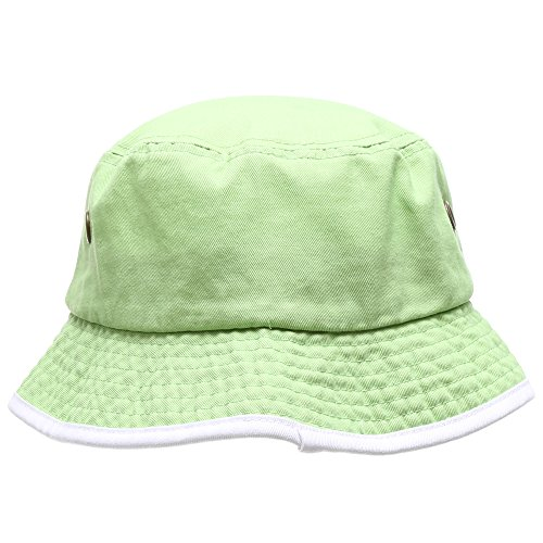 MIRMARU Summer Adventure Foldable 100% Cotton Stone-Washed Bucket hat with Trim.(Lime-White-SM)