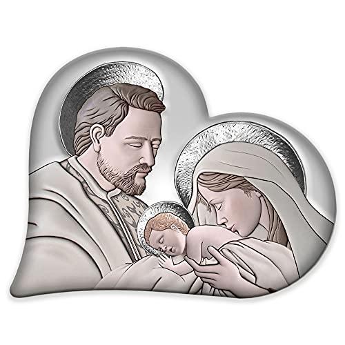 Lupia Capezzale Sacra Famiglia in Legno Heart The Kiss Ceramic Grey 50x65 cm