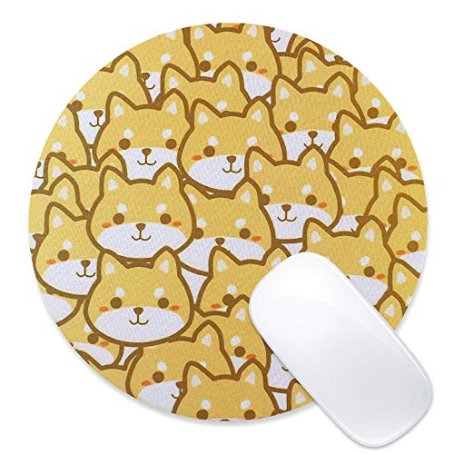 Arisase Mouse Pad Gaming Cute Dog Shiba Inu-Shaped Mat 8.66-Inch Cloth Round Mousepad with Anti-Skid Rubber Base for Desktop Home Office Gaming Laptop Computer Smooth Sensitive Surface (Light Brown)