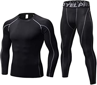 Jzenzero Fitness Training Suits Stretch Quick-drying Suits Long Sleeves Trousers Compression Base Layer T-Shirt Leggings Athletic Tights