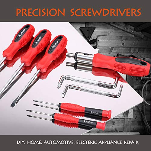 100-Piece Magnetic Screwdriver and Bits Set with Organizer Racking, Magnetic Tips- Precision Kit Including Screwdrivers, Bits, Power Nut Drivers Professional Repair Tool for Man Tools Gift