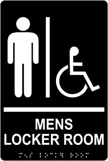 Mens Locker Room Sign, ADA-Compliant Braille and Raised Letters, 9x6 inch White on Black Acrylic with Adhesive Mounting Strips by ComplianceSigns