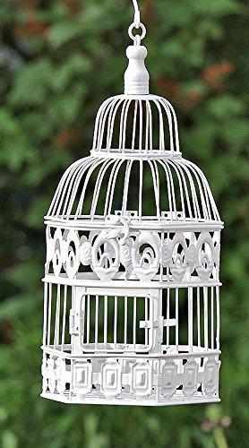 Arredamento, decorazione giardino - gabbia per uccelli, volatili di piccola dimensione - stile: shabby chic, rustico - materiale: metallo - colore: bianco - dim. ca 39 cm