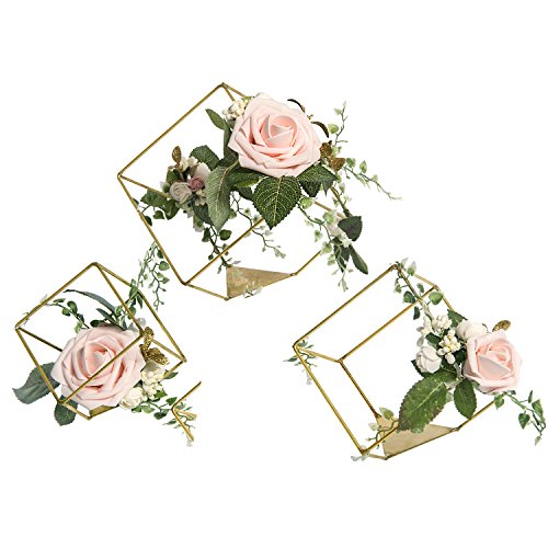 Ling's moment Set of 3 Gold Geometric Ivory Rose Centerpieces for Wedding Party Decor