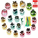 Vegetable Cutter Shapes Set, Mini Pie, Fruit and Cookie Stamps Mold, Cookie Cutter Decorative Food for Kids Baking and Food Supplement Tools Accessories Crafts for Kitchen (Colorfull, 20pack)