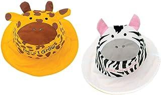 flapjackkids fj-luv0119 米夏季帽子,双面,防紫外线,长颈鹿/斑马